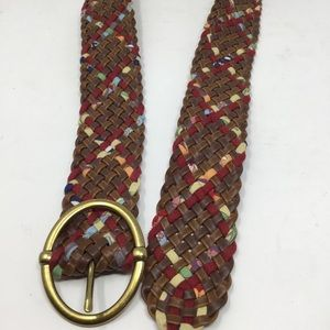 Target Accessories - Target multi-color brown weave belt buckle gold